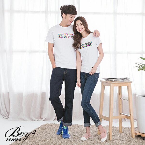 ☆BOY-2☆ 【JJ758】情侶潮流文字彩虹燙金短袖T恤 2