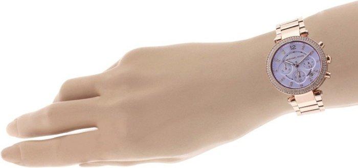 【MICHAEL KORS】正品 玫瑰金 粉紫鑽錶 三眼計時 MK6169 2