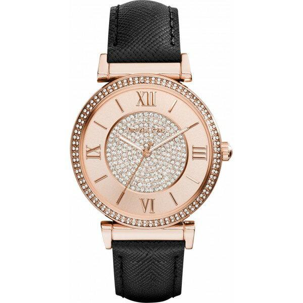 美國Outlet 正品代購 MichaelKors MK 玫瑰金鑲鑽 黑色皮帶三環計時手錶腕錶 MK2376 1