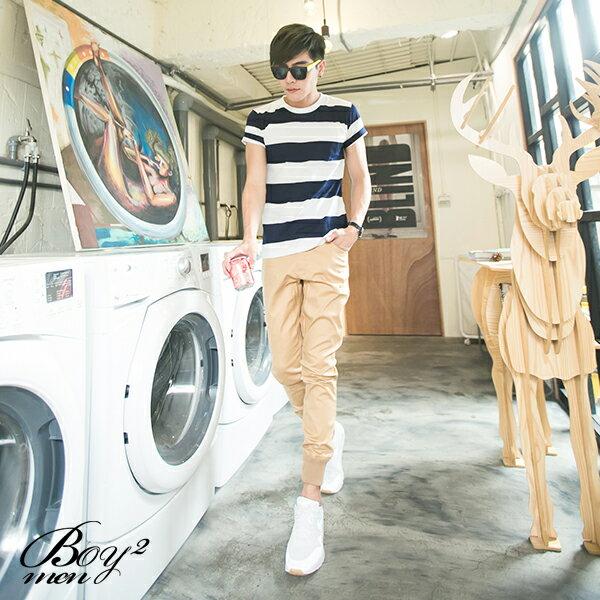 ☆BOY-2☆【NM1087】短袖T恤簡約型男韓流素面修身粗橫條紋短T 2