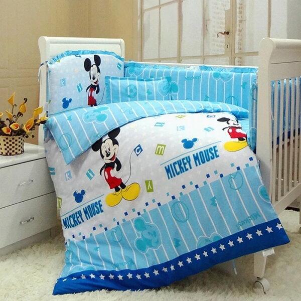 「DouDouMiki」米奇老鼠純棉嬰兒床9件組。嬰兒床九件組。