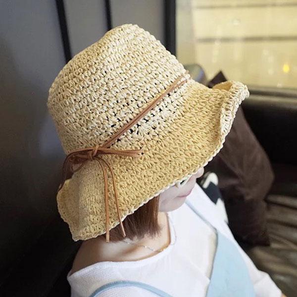 草帽 鐵絲寬緣荷葉帽子 遮陽可折 細繩綁帶 海邊度假 正韓 韓國空運 Anna S.