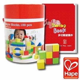 Baby Joy World-德國Hape educo愛傑卡彩色創意積木組(100塊)+附塗鴉本