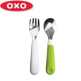 兒童學習餐具-Baby Joy World-美國OXO 嬰兒學習防滑不鏽鋼湯匙叉子組-綠色