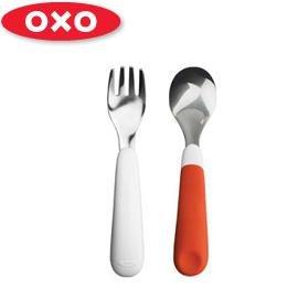 兒童學習餐具-Baby Joy World-美國OXO 嬰兒學習防滑不鏽鋼湯匙叉子組-橘色