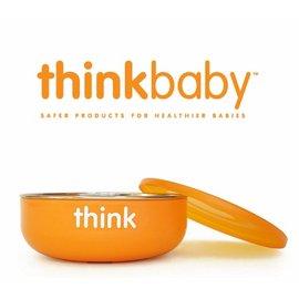 兒童餐碗-Baby Joy World-美國thinkbaby BPA Free Baby Bowl 無毒不銹鋼兒童淺碗 湯碗附蓋 無塑化劑-橘色