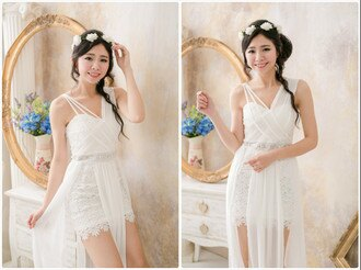 PMQueen白羽夜后洋裝禮服[#12018]女神款浪漫雙肩蕾絲包臀飄逸下擺洋裝 0