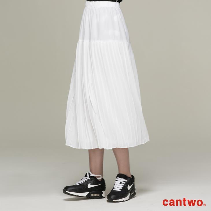 cantwo雪紡細褶長裙(共二色) 1