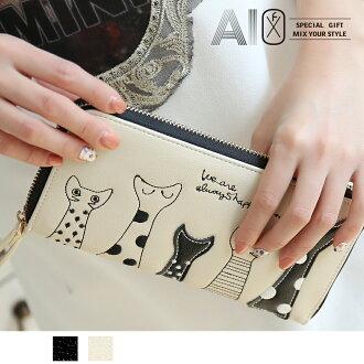 【限時結帳 5折】長夾 小貓之歌拉鍊式皮夾 OB9051