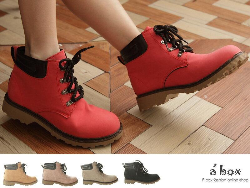 格子舖*【KIW1077】韓版台灣製 超輕量素面超舒適綁帶 工作靴 短靴 5色現貨 0