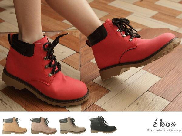 格子舖*【KIW1077】韓版台灣製 超輕量素面超舒適綁帶 工作靴 短靴 5色現貨