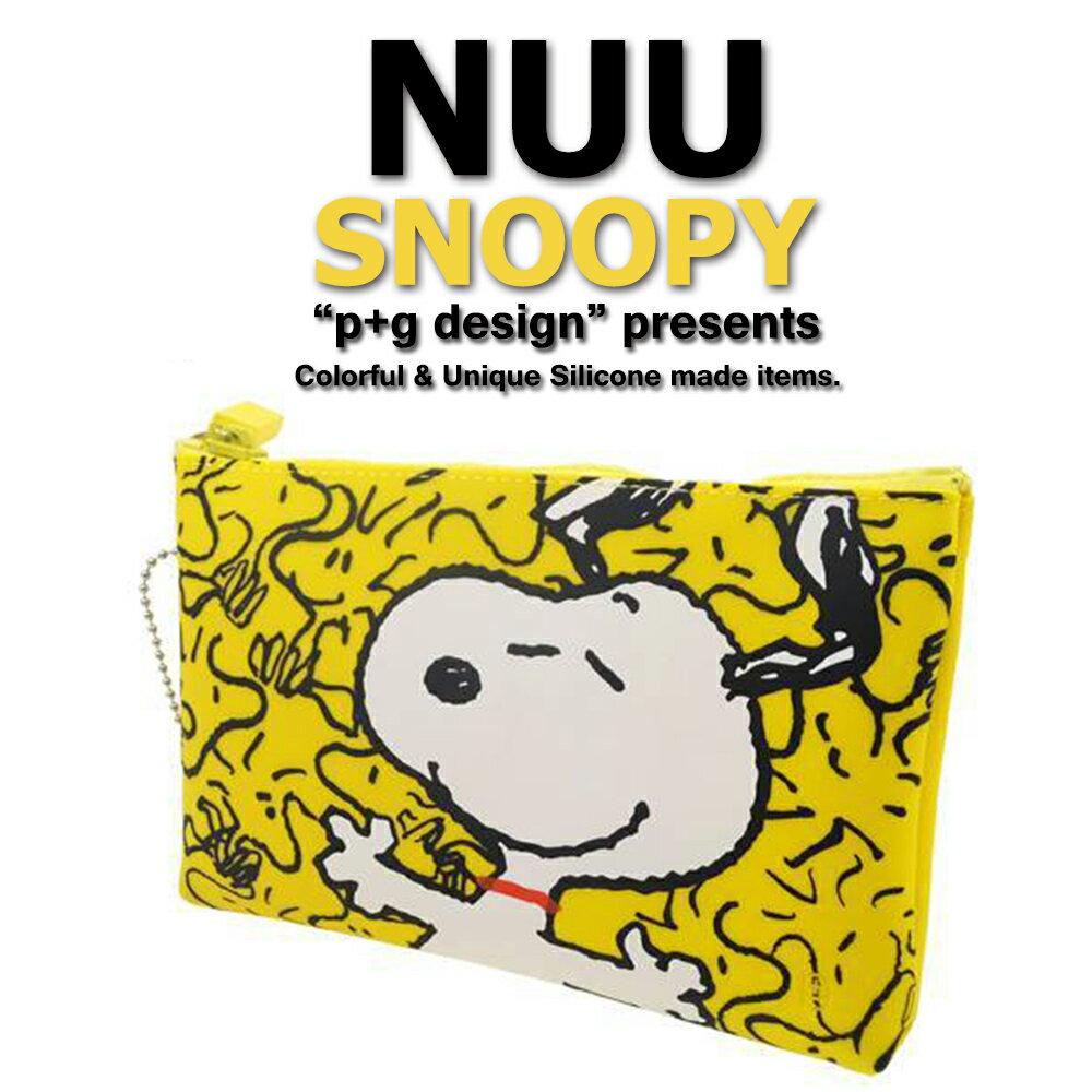 日本空運進口 p+g design NUU X Snoopy 2016 繽紛矽膠拉鍊零錢包 - 黃色開心款 0