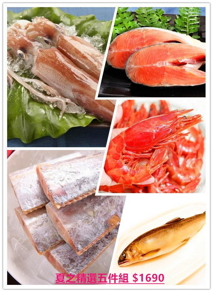 ~雞籠好魚:夏之 5件組~5種 的 組(大紅胭脂蝦 挪威鮭魚片 野生白帶魚 極品香魚 活凍