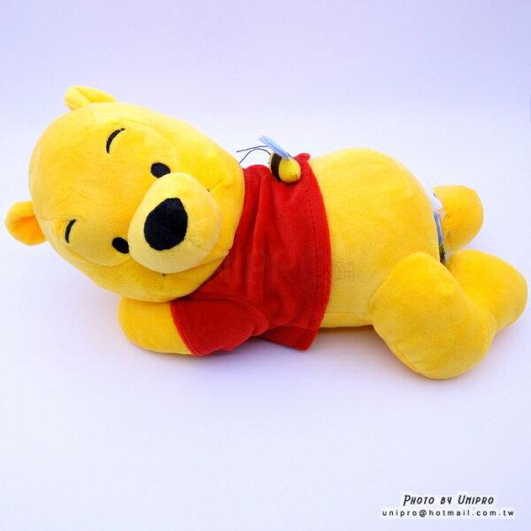 【UNIPRO】迪士尼 小熊維尼 Winnie the Pooh 側趴姿 蜜蜂 維尼 絨毛玩偶 娃娃 32公分