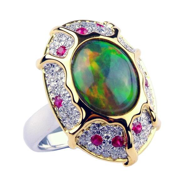 ~樂采珠寶~18k黃白 炫彩-天然墨西哥蛋白石珠寶戒指.