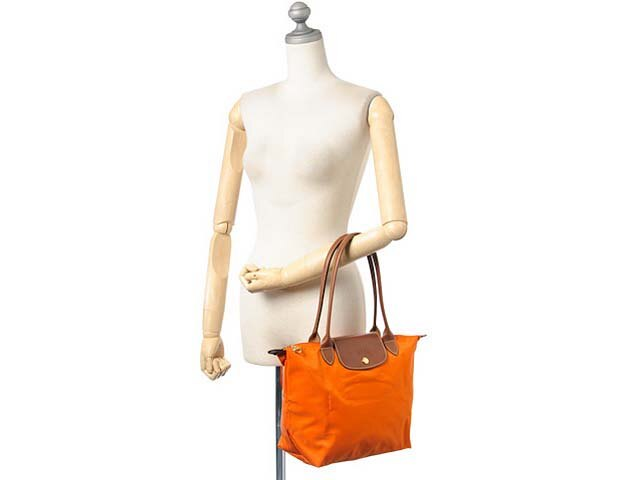 [2605-S號] 國外Outlet代購正品 法國巴黎 Longchamp 長柄 購物袋防水尼龍手提肩背水餃包 亮橙色 3