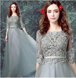 天使嫁衣【AE1113】灰色蕾絲網紗透視美背晚禮服˙預購訂製款