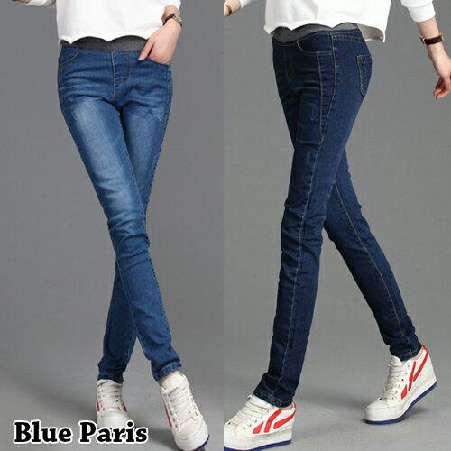 褲子 - 鬆緊腰修身刷白效果牛仔窄管褲【23311】藍色巴黎《S~L》現貨+預購 0