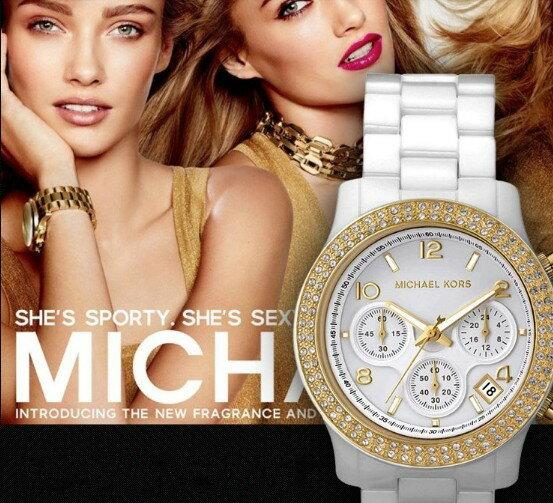 美國Outlet正品代購 MichaelKors MK 金色陶瓷 水鑽 三環 手錶 腕錶 MK5237 1