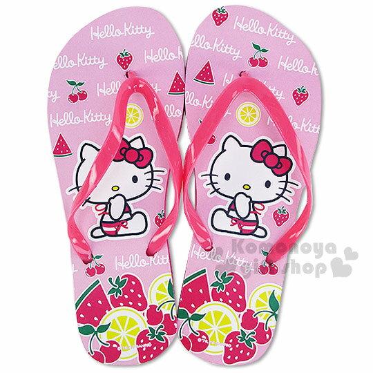 〔小禮堂〕Hello Kitty 平底夾腳拖鞋~粉.側坐.泳裝.水果~