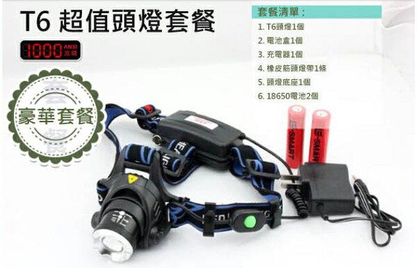 CREE XML T6 全配套餐 頭燈 伸縮變焦魚眼頭燈 頭套燈 釣魚燈 自行車燈 【FLAA37】