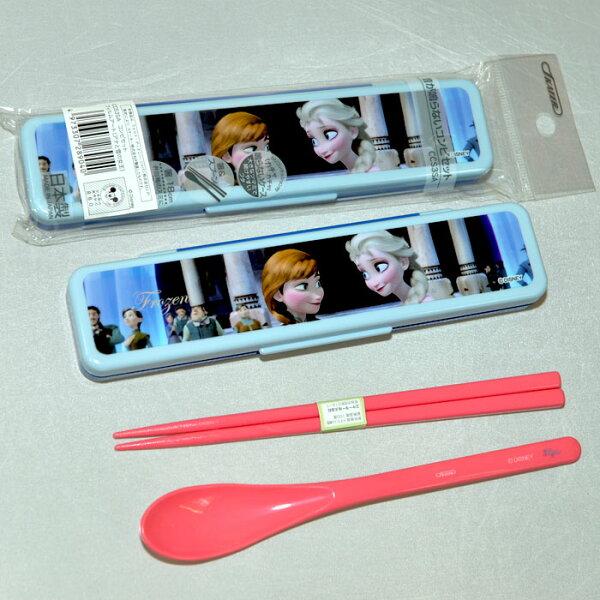 冰雪奇緣 艾莎&安娜 無噪音餐具組 筷子湯匙組附保存盒 日本製 正版商品