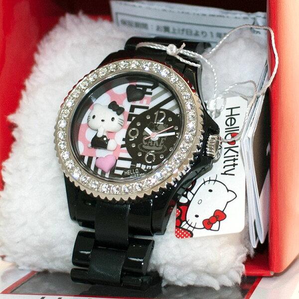 黑色 Hello Kitty 鑲鑽立體造型手錶 日本限定 附精美禮盒 值得收藏