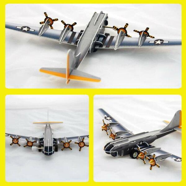 轟炸機 飛機 可動發條式 3D立體拼圖玩具 益智 教育 美勞