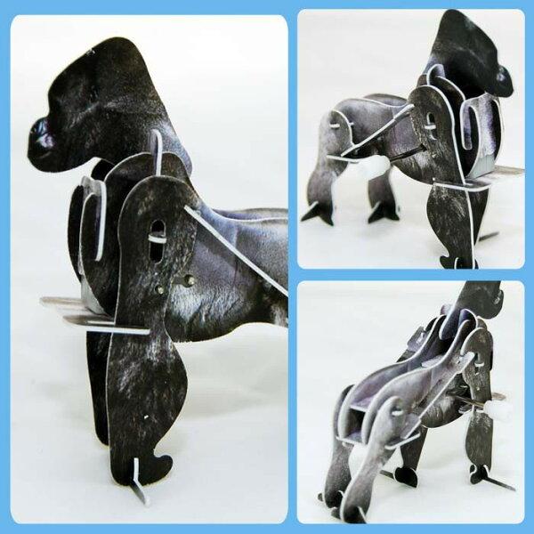 猩猩 金剛 可愛動物 可動發條式 3D立體拼圖玩具 益智 教育 美勞