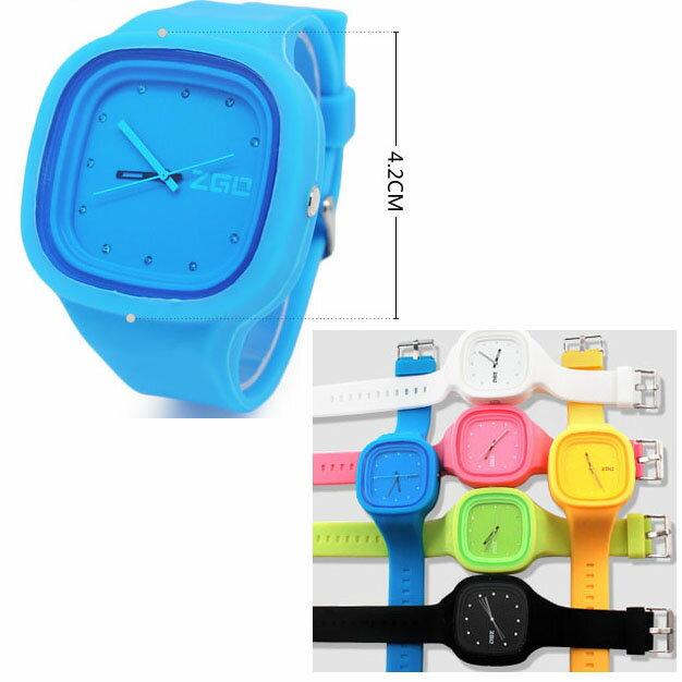指針式 靚麗糖果色 鑲鑽果凍表 矽膠手錶腕表 錶 ~  好康折扣