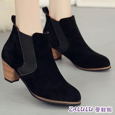 ☼zalulu愛鞋館☼ HE141 簡約完美斜線 素面中跟短靴~偏小~黑 灰 駝~36~3