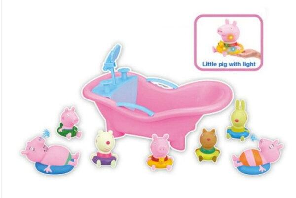 佩佩豬小妹 洗澡玩具  內附7隻小豬 按壓有啾啾聲-現貨+預購