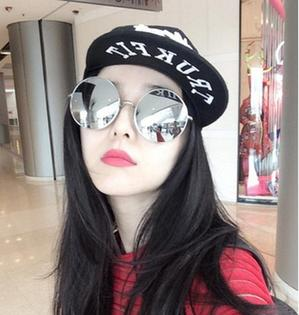 50%OFF【J013875Gls】新款時尚範冰冰款太陽鏡潮流圓形大框墨鏡男女士太陽眼鏡