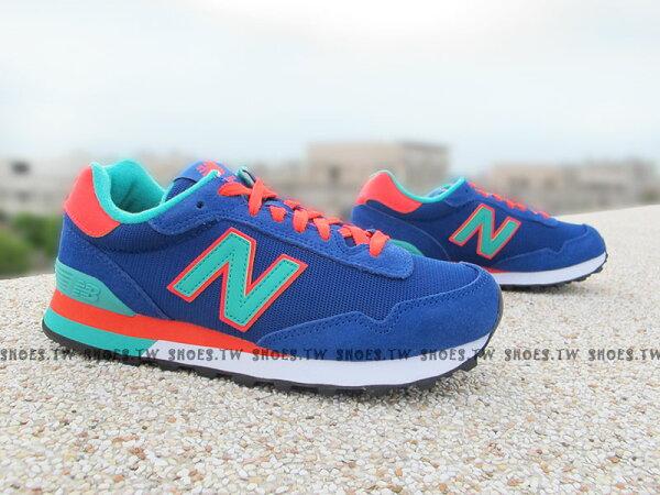 《超值4折》Shoestw【WL515GRB】NEW BALANCE NB 515 復古慢跑鞋 繽紛夏季 撞色 藍橘 女生