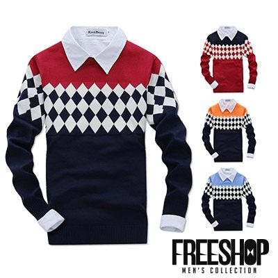 針織毛衣 Free Shop~QTJM6624~日韓風格菱形撞色螺旋紋袖口保暖舒適圓領長袖