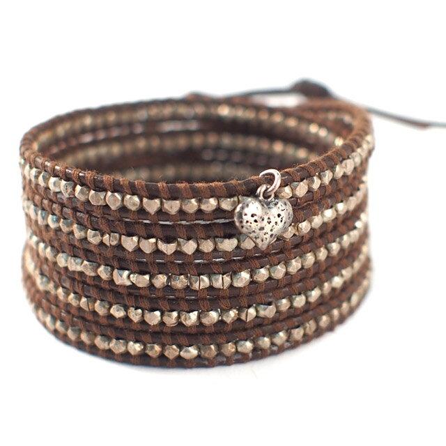 【現貨商品】【CHAN LUU】愛心純銀塊棕色皮繩手環/5圈 (CL-BS-2737Heart-Brown  0607150013) 1