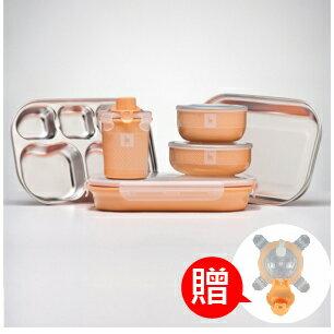 【本月贈市價$160-杯上蓋】美國【Kangovou】小袋鼠不鏽鋼安全餐具組-奶油橘  (贈精美禮盒+紙袋) 0