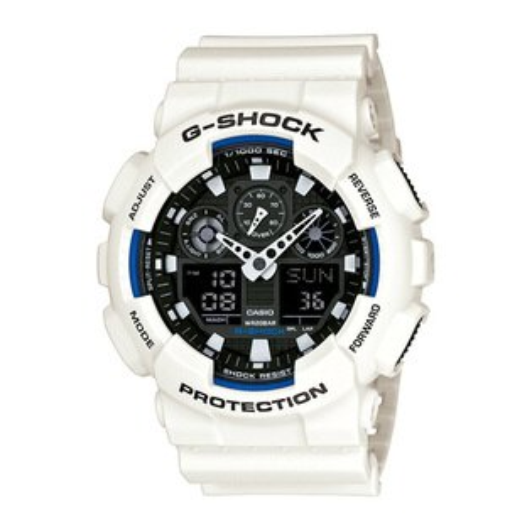 CASIO G-SHOCK GA-100B-7A經典藍白雙顯流行腕錶/黑面51mm