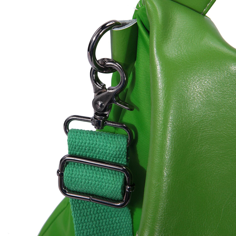 BEIBAOBAO夏季旅行防水布配真皮兩用後揹包(橄欖綠) 5
