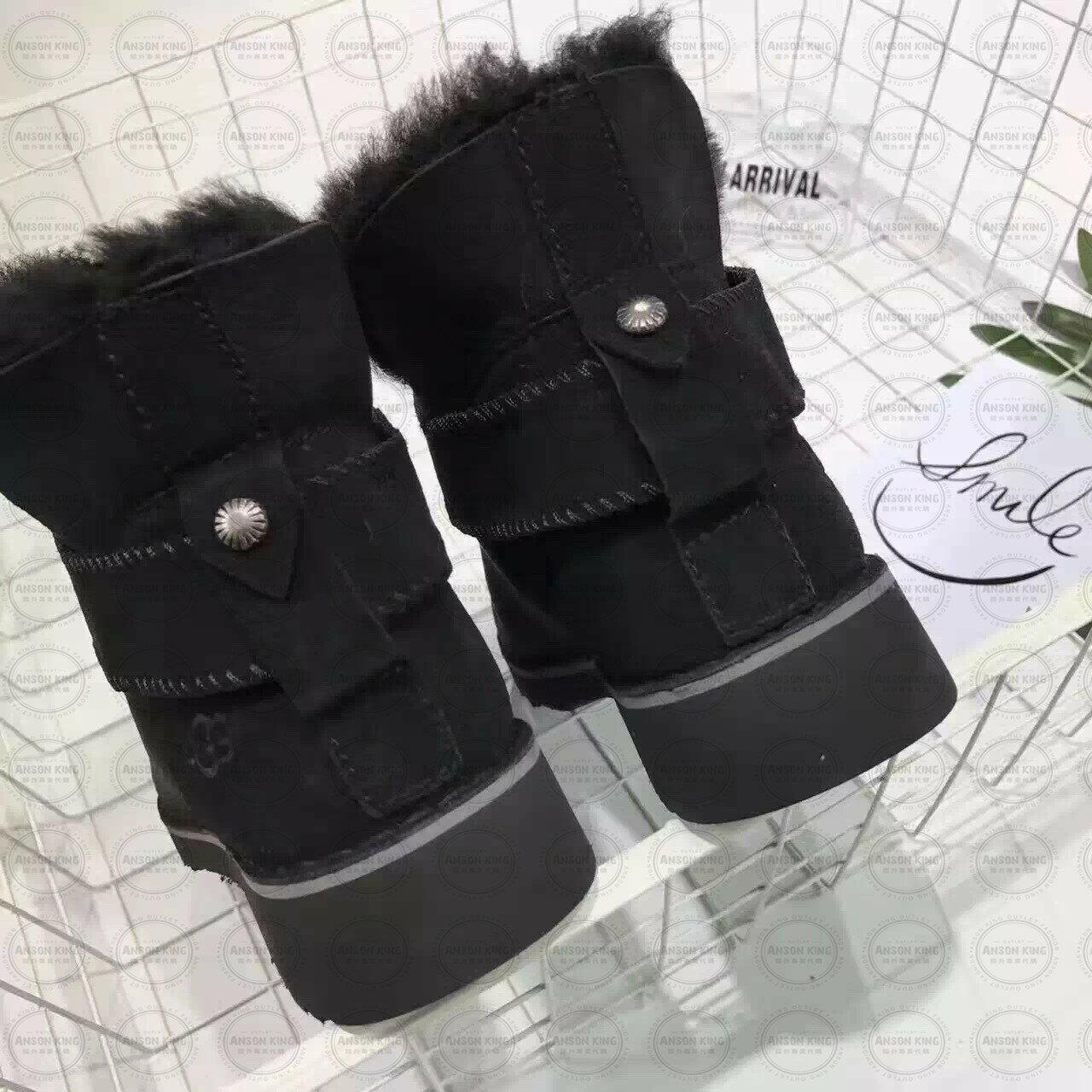 OUTLET正品代購 澳洲 UGG 羊皮毛一體馬汀靴 中長靴 保暖 真皮羊皮毛 雪靴 短靴 黑色 3