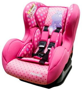 Nania 納尼亞 - 卡通動物系列0-4歲汽車安全座椅(汽座) -河馬粉 加贈Munchkin - 外出用握把餅乾盒
