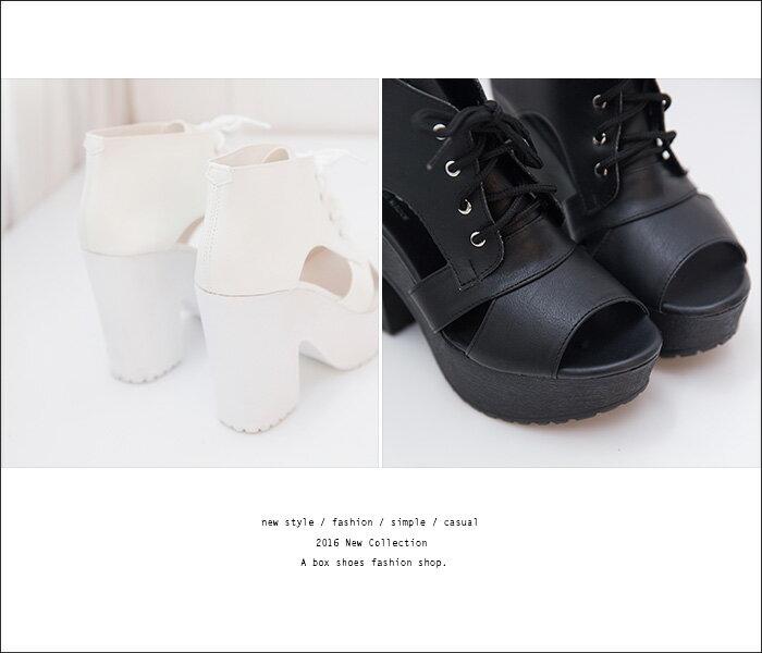 格子舖*【KDW2772】MIT台灣製 雜誌推薦款 皮革防水台粗高跟繫帶露趾魚口短靴 踝靴 2色 2