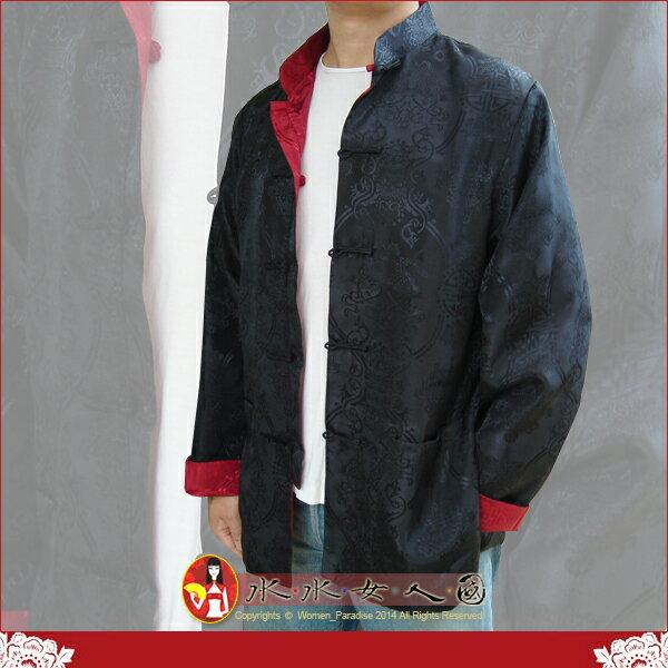 【水水女人國】~中國風男士唐裝~〈驚喜價699元〉黑配紅。書卷氣質十足的隱花軟緞2面穿長袖外套 等於買一送一