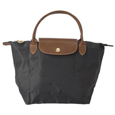 [短柄S號]國外Outlet代購正品 法國巴黎 Longchamp [1621-S號] 短柄 購物袋防水尼龍手提肩背水餃包 槍灰色