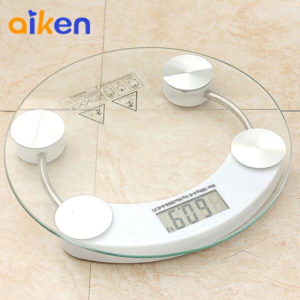 【艾肯居家生活館】減重 減肥 體重計 電子體重機 強化玻璃 電子體重計 人體秤 圓型鋼化玻璃 kg lb雙單位  - J1012-001