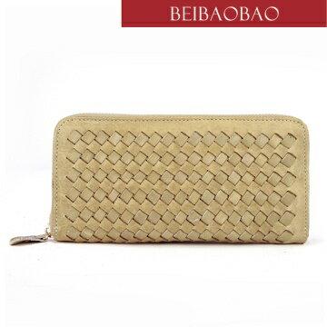 【BEIBAOBAO】法式 編織真皮時尚皮夾(輕甜杏)