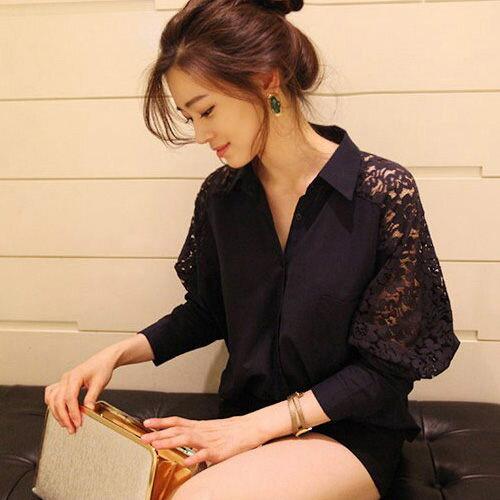 襯衫上衣 - 寬版蕾絲七分袖襯衫【27028】 藍色巴黎《黑 / 白》 現貨 1