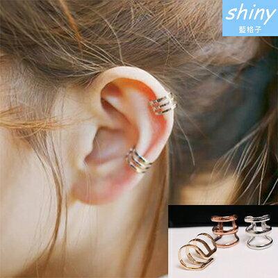 【10A55】shiny藍格子-風華獨特.復古鏤空U型耳骨夾耳環