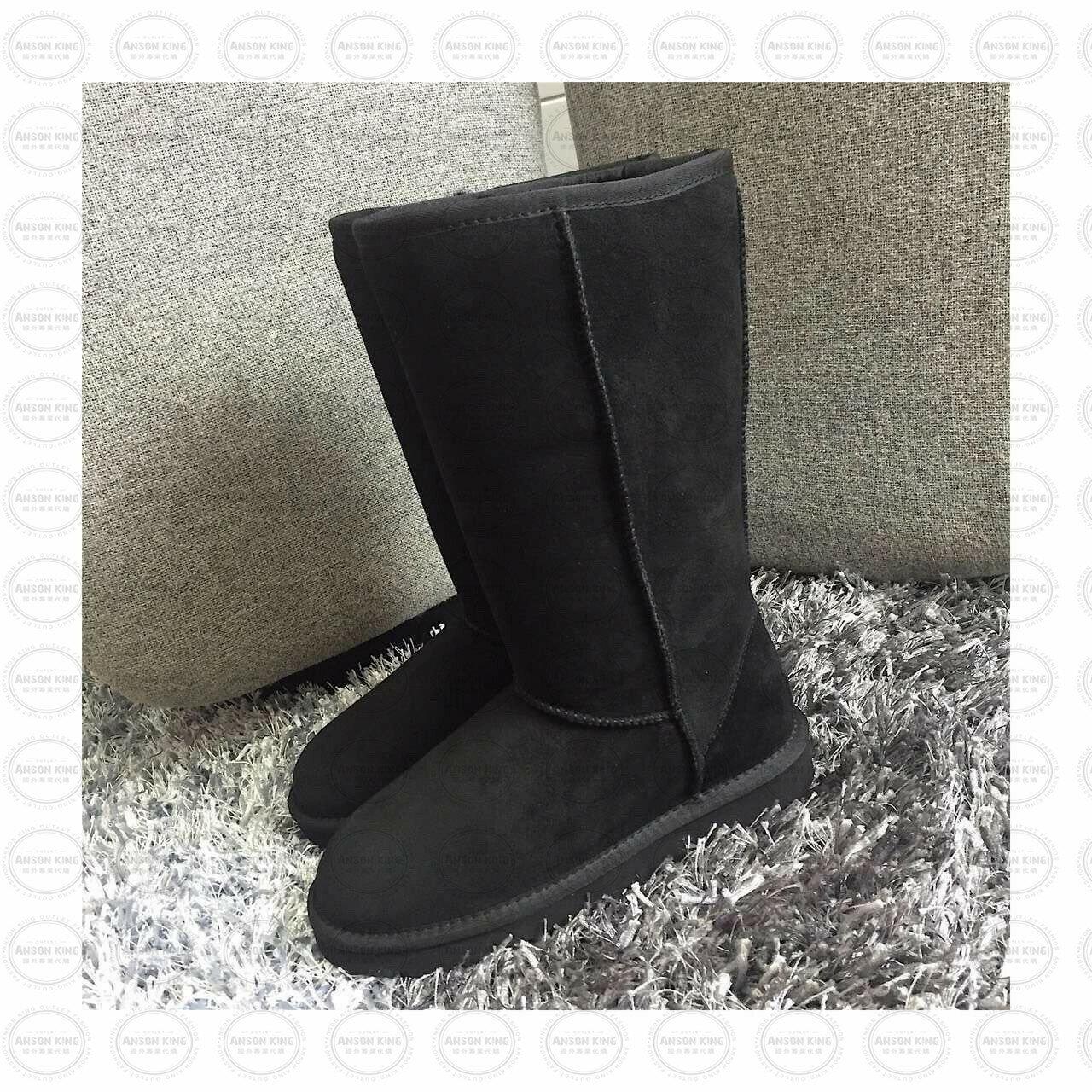 OUTLET正品代購 澳洲 UGG 經典女款羊皮毛一體雪靴 中長靴 保暖 真皮羊皮毛 雪靴 短靴 黑色 0