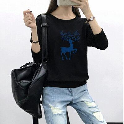 ◆快速出貨◆刷毛T恤 圓領刷毛 情侶T恤 暖暖刷毛 MIT台灣製.藍色鹿【YCS103】可單買.艾咪E舖 1